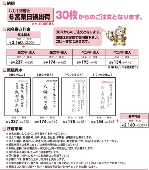 宛名書き価格表